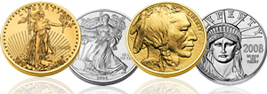 US Mint Silver, Gold, and Platinum Bullion-Coins