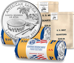 Bags and rolls of American Samoa Quarters